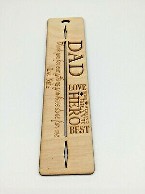 Personalised Wooden DAD Bookmark Perfect gift for Dad, Reading, Books.