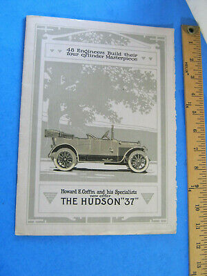 1912-1913 Hudson 37 Howard Coffin  Brochure Original  16 Page
