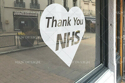 Thank You Nhs & Key Workers Heart Car Window Wall Stickers Art Big/Large Size