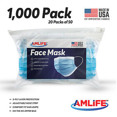 Made in USA 1000 Pack Disposable Face Mask 3 Ply Dental Surgical Wholesale Lot