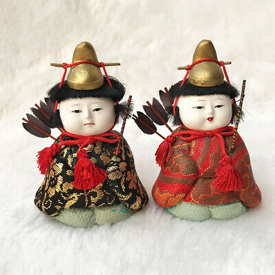 "2.5"" Japanese Vtg Tiny HINA NINGY KIMEKOMI Dolls Warrior Traditional Craft Set 2"