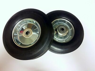 "2pc 10"" inch Solid Rubber Dolly Wheels Heavy Duty Never Flat 5/8"" Axle"