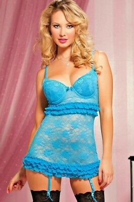 Aqua Blue Chemise Lingerie Sheer Lace Ruffle Valentines One Size Sexy CH1003