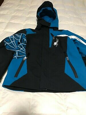 SPYDER Hooded Boys Coat/Jacket in Teal/White/Black size 8 years.