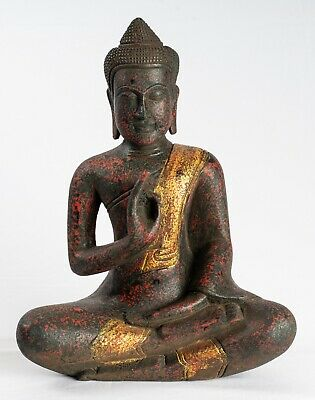 Antique Khmer Style Wood Buddha Statue Dharmachakra Teaching Mudra - 38cm/15""