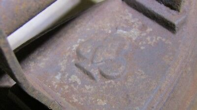 Antique/Vintage Heavy Cast Iron FLAT IRON Diamond Spade Logo - Door Stop #1