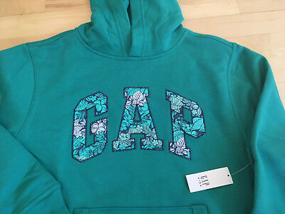 Gap Kids Sweatshirt Girls Clothes Logo Soft Fleece Teal Hoodie $30 XS 4 5 NEW