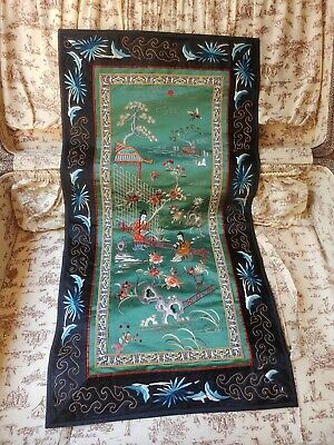 """Vintage Chinese Hand Stitched Embroidered Silk Tapestry Panel Flowers 14""""x26"""""""