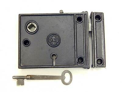 Signed Antique Yale & Towne Cast Iron Rim Lock, Restored With Keeper & Key