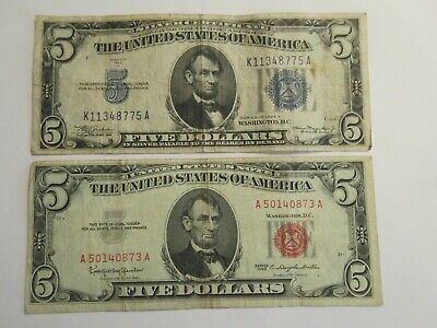 TWO $5 Notes, 1934 A silver certificate & 1963 US note-red seal