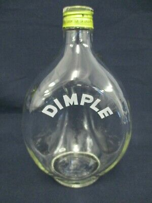 Triangular Dimple Bottle, Clear Glass, with Metal Screw Top, 21cm High