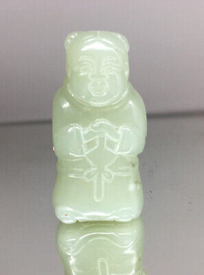 Antique Chinese Celadon Jade Man Figurine Statue Sculpture Stone Carving Toggle