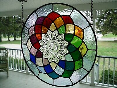 12 colors Stained panel featuring old dish