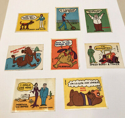 Vintage Hanna Barbera Fabric Stickers 8 Stickers 1960s - 1970's COOL!
