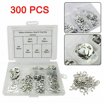 300X Stainless Steel Circlip Cir Clip E C Clips In Plastic Case M2.5/3/4/5/6/8