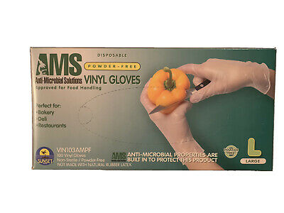 Ambitex Disposable Vinyl Gloves - 100 Total Gloves - L  US shipping