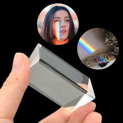 DIY Crystal Optical Glass Triangular Prism for Teaching Lights Spectrum Physics