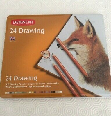 Derwent Drawing Pencils Tin Of 24 New