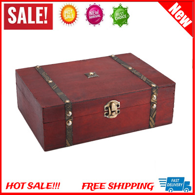 Red Wood Durable Jewelry Storage Organizer Wooden Case Treasure Chest Box NEW
