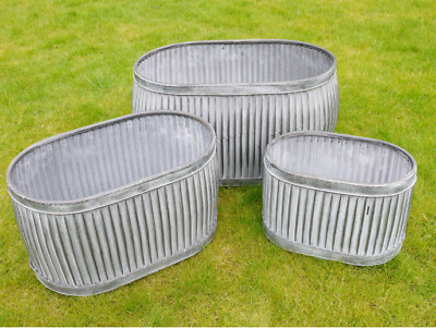 Large Oval Vintage Galvanised Metal Barrel Planters Tub Plant Flower Pot Garden