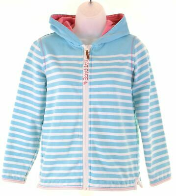 FAT FACE Girls Hoodie Sweater 12-13 Years Blue Striped Cotton  BQ20