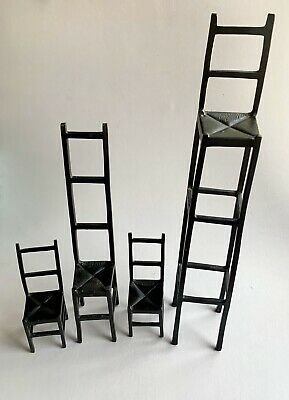 Set Of 4 Miniature Small Cast Iron Chairs Home Decor Made In Sweden