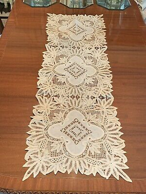 Rare Large Antique Embroidered Lace Table Runner #1