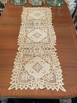 Rare Large Antique Embroidered Lace Table Runner #2