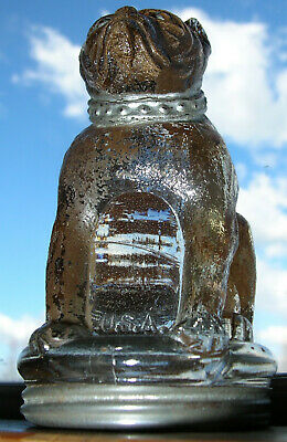 Antique BULLDOG – Glass Candy Container, Much Orig. Paint & Tin Screw Lid