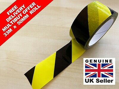 HAZARD / DISTANCE TAPE Yellow & Black diagonal Stripe 33 metres adhesive back