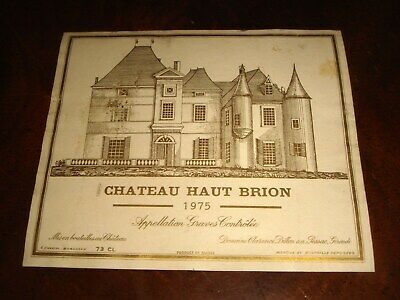 Vintage 1975 CHATEAU HAUT BRION Wine Label Grand Cru Bordeaux GRAVES FRANCE