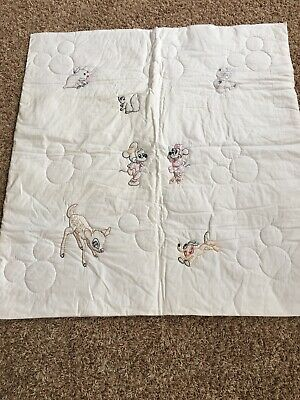 Handmade Disney Baby Blanket Quilt Topper Embroidered NEW 40x44
