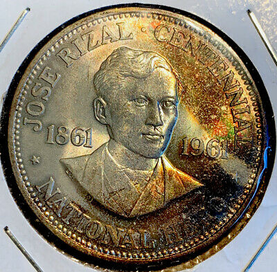 1961 PHILIPPINES Peso RIZAL Uncirculated 90% Silver coin ( Beauty Rainbow Toned