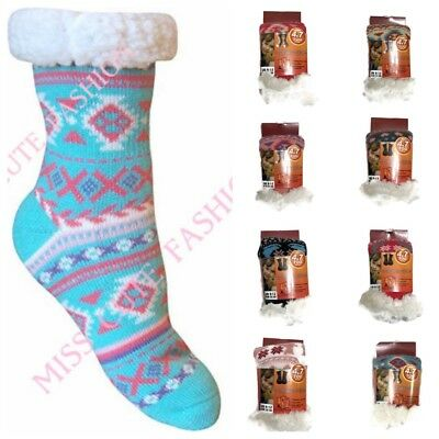 Kids Girls Winter 4.7 Tog Gripper Thermal Sherpa Fleece Slipper Socks Stockings