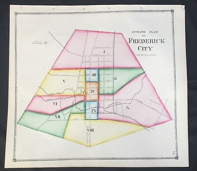 1873 RARE HAND COLORED Poster MAP Frederick City MARYLAND Titus Atlas B & O RR