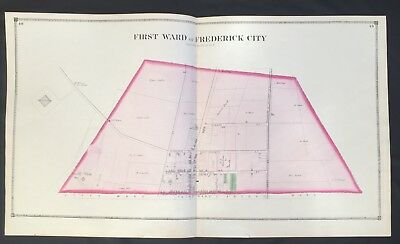 1873 RARE HAND COLORED Poster MAP Frederick City MARYLAND  1st Ward TITUS ATLAS
