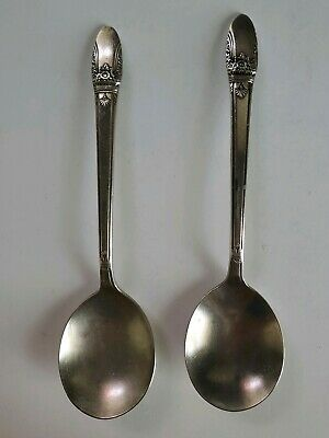 """1937 Rogers Bros First Love Silverplate Place Settings Round Spoons 7"""" Qty. 2"""