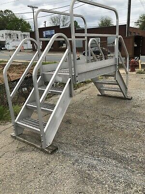 Aluminum Crossover Bridge Step Ladder Industrial Stairs 9+FT Width CAN SHIP