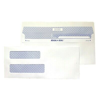 NEW Staples 500 Count #8 5/8 Reveal-N-Seal Privacy Tint Double Window Envelopes