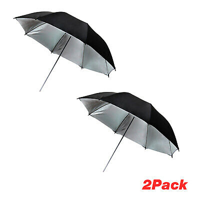 "2Pack 40"" Wide Black/Silver Premium Umbrella Reflector for Photo Video Studio"