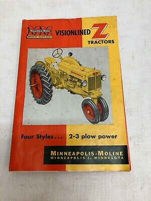 Minneapolis-Moline Visionlined Z Tractors Colorful Sales Brochure.