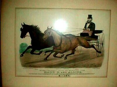 RACE Horse TROTTING Currier IVES PICTURE Colored Engraving MAUD S  Aldine PRINT