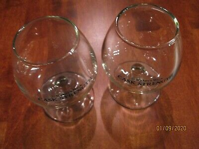 "2 NEW RARE Makers Mark Cask Strength Glassware TASTING GLASSES. 4"" TALL 2.75"" W"