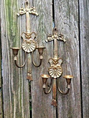Vintage Brass Angel Cherub Candelabra Wall Sconce Candle Holders SET OF 2 ❤️J8