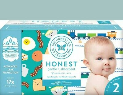 The Honest Company Club Box 76  with TrueAbsorb Technology Trains Size 2 diaper