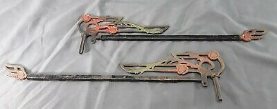 Pair of  Antique Ornate Cast Iron Metal Swing Arm Curtain Rod Green Red Black ~2