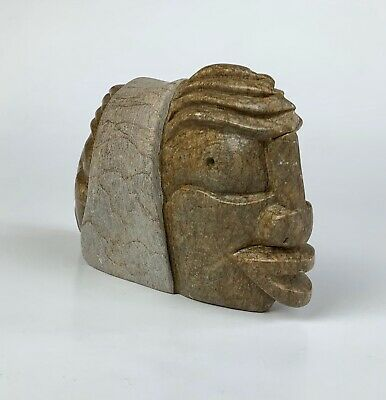 Rare Iroquois Inuit Native Indian Carved Stone Face Sculpture Signed GAWCNA GIA