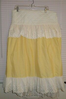 Vintage Baby Bassinet Skirt Yellow Check with White Eyelet Lace Trim