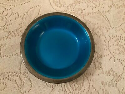 Vtg. Reed & Barton 6 inch Candy Dish Silver Pl. with Blue Enamel nice Condition