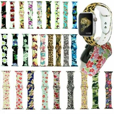 Flower Printed Silicone Sport iWatch Band Strap For Apple Watch Series 5 4 3 2 1